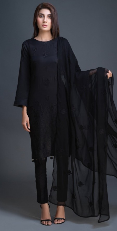 Salitex Lawn Shirt with Embroidered Front , Embroidered Chiffon Dupatta & Cambric Trouser 3pc (BW-03)