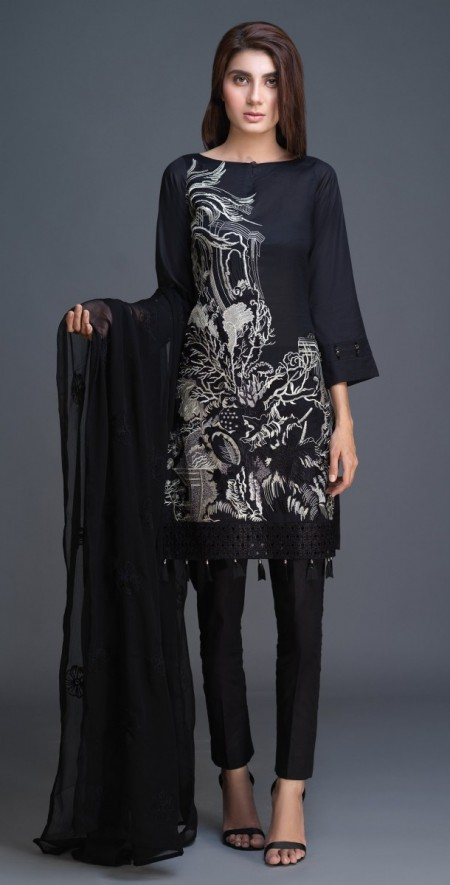 Salitex Lawn Shirt with Embroidered Front , Embroidered Chiffon Dupatta & Cambric Trouser 3pc (BW-04)