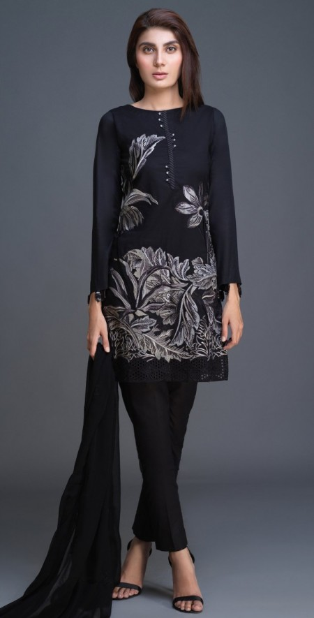 Salitex Lawn Shirt with Embroidered Front , Embroidered Chiffon Dupatta & Cambric Trouser 3pc (BW-05)