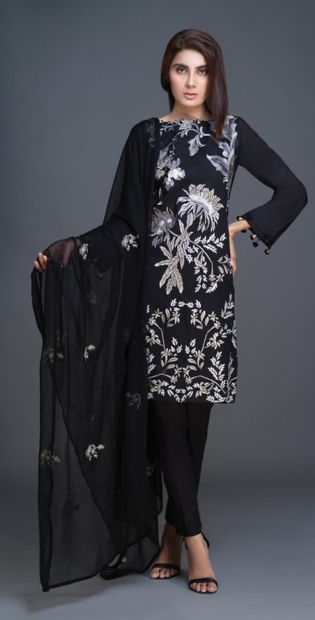 Salitex Lawn Shirt with Embroidered Front , Embroidered Chiffon Dupatta & Cambric Trouser 3pc (BW-06)