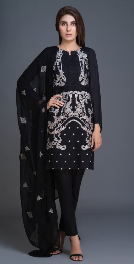 Salitex Lawn Shirt with Embroidered Front , Embroidered Chiffon Dupatta & Cambric Trouser 3pc (BW-07)
