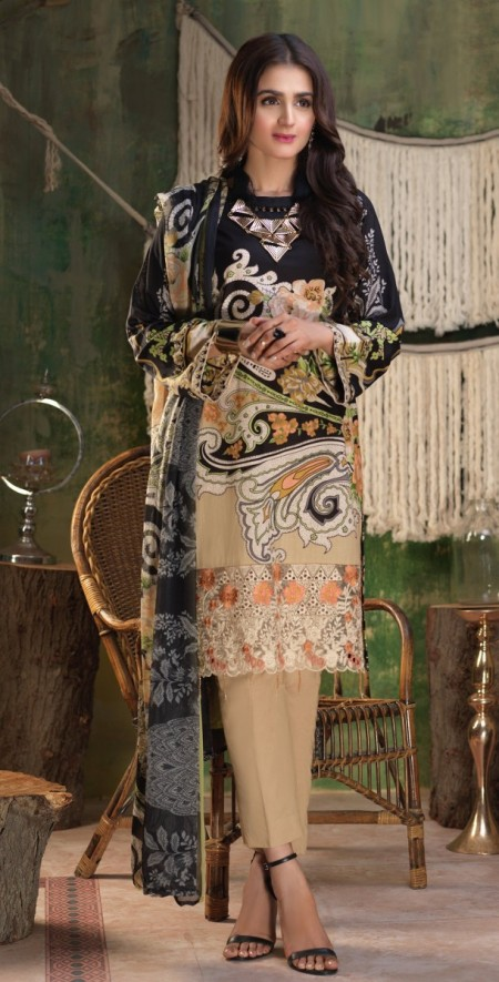 Salitex Printed Lawn Shirt with Embroidered Daaman Bunches , Printed Chiffon Dupatta & Cambric Trouser Z'ure 3pc (WK-314A)