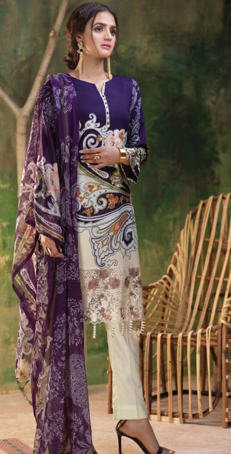 Salitex Printed Lawn Shirt with Embroidered Daaman Bunches , Printed Chiffon Dupatta & Cambric Trouser Z'ure 3pc (WK-314B)