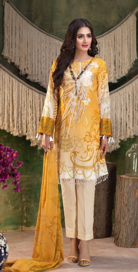 Salitex Printed Lawn Shirt with Embroidered Front , Printed Chiffon Dupatta & Cambric Trouser Z'ure 3pc (WK-315A)