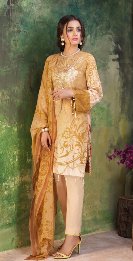 Salitex Printed Lawn Shirt with Embroidered Front , Printed Chiffon Dupatta & Cambric Trouser Z'ure 3pc (WK-315B)