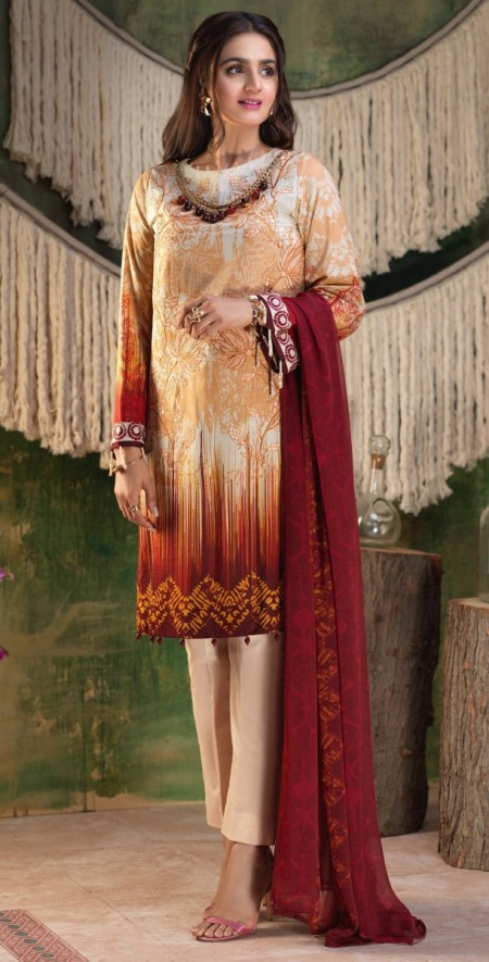 Salitex Printed Lawn Shirt with Embroidered Front , Printed Chiffon Dupatta & Cambric Trouser Z'ure 3pc (Wk-316B)
