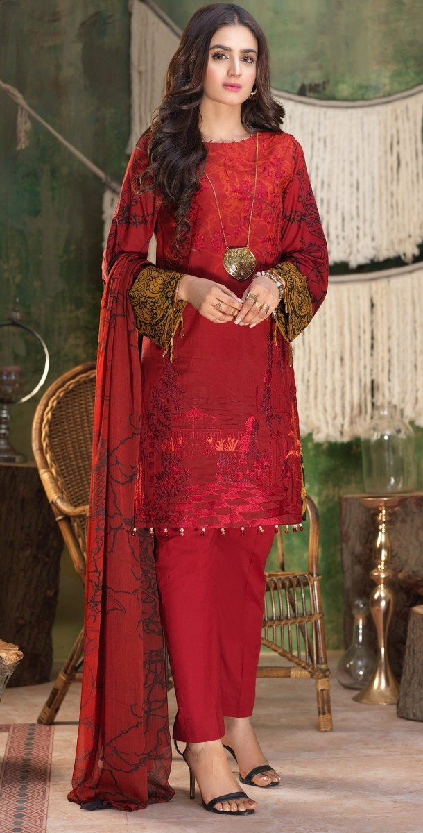 Salitex Stitched Printed Lawn Shirt with Embroidered Front , Printed Chiffon Dupatta & Cambric Trouser Z'ure 3pc (WK-313A)