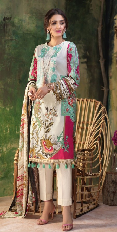 Salitex Stitched Printed Lawn Shirt with Embroidered Front , Printed Chiffon Dupatta & Cambric Trouser Z'ure 3pc (WK-317A)