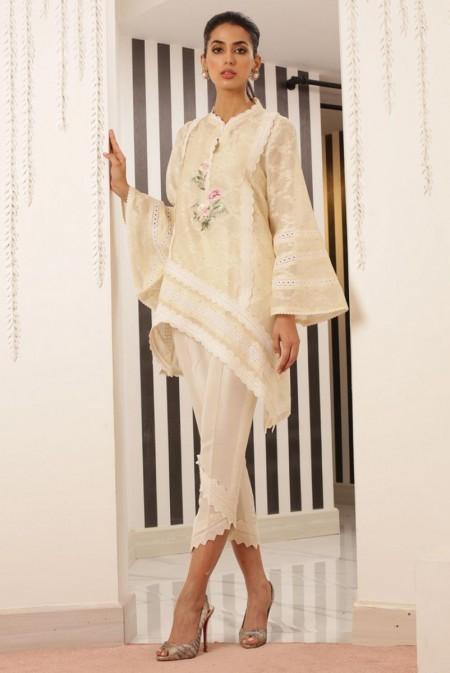 Sania Maskatiya Asymmetric cotton net kurta