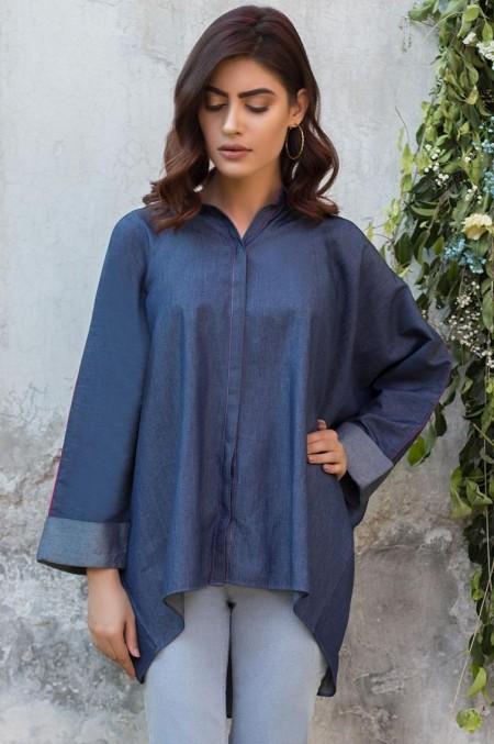 Zeen Woman 1 PC Stitched Shirt - Denim WA19129-Blue