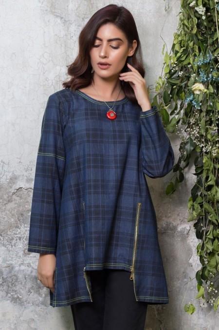 Zeen Woman 1 PC Stitched Shirt - Denim WA19130-Blue