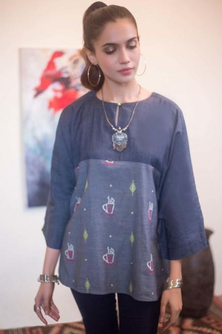 Zeen Woman 1 PC Stitched Shirt - Denim WA193005-Blue