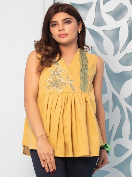Zeen Woman 1 PC Stitched Shirt-Fabric: Karandi WZT19109-Yellow