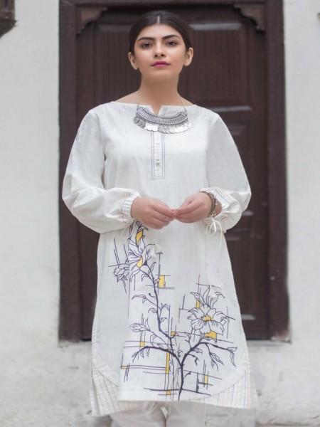 Zeen Woman 1 PC Stitched Shirt-Fabric: Slub WA19135-White
