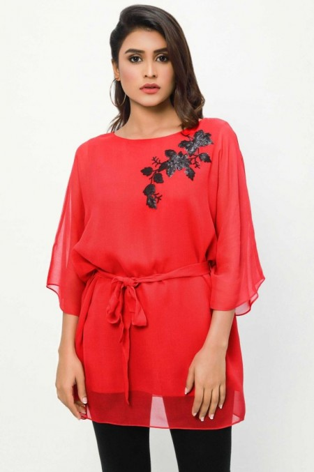 Zeen Woman 1 PC Stitched Shirt - Georgette WA19175-Red