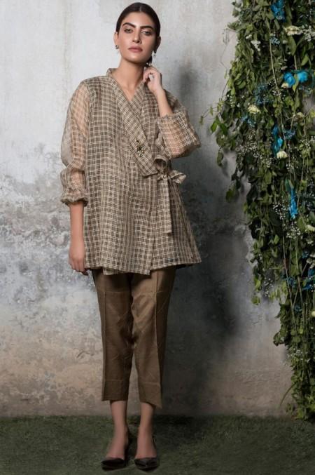 Zeen Woman 1 PC Stitched Shirt - Organza Check WA19170-Army-Green
