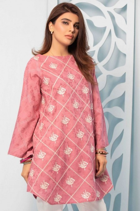 Zeen Woman Solid Embroidered Shirt WA19125-Rose-Pink