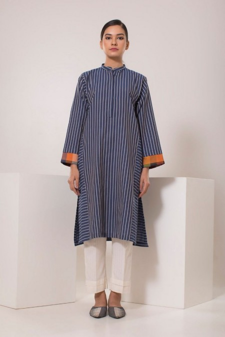 Chapter 2 Handwoven Blue and Off-White Striped Kurta C2TT19301-Blue