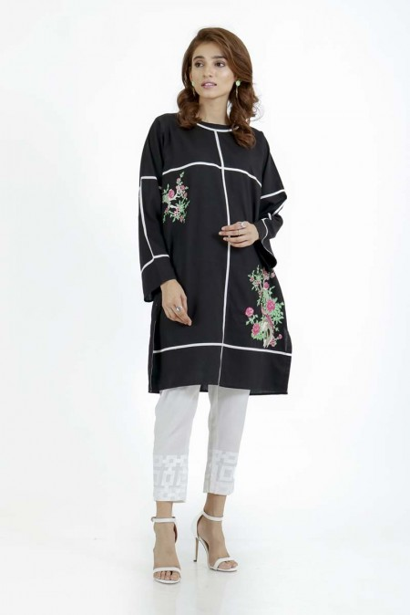 Ego Monochrome Collection Flowers in a box - Embroidered Kurta