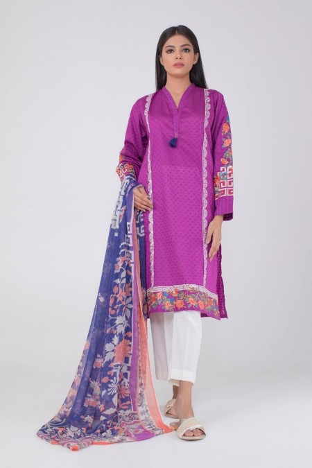 Khaadi Embroidered Kurta Paired with DupattaKDEB19490-Purple
