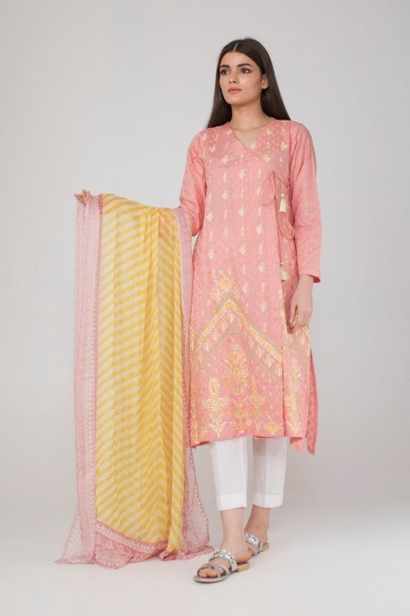 Khaadi Embroidered Kurta paired with DupattaKDEB19494-Pink