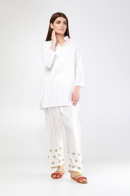 Khaadi Embroidered Shalwar WFS19210-White