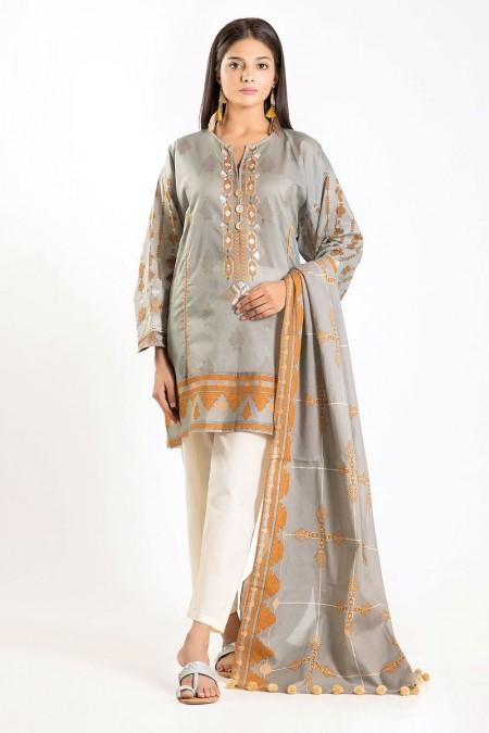 Khaadi Shirt Dupatta M19414-Grey-2Pc