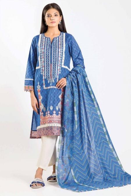 Khaadi Shirt Dupatta M19415-Blue-2Pc