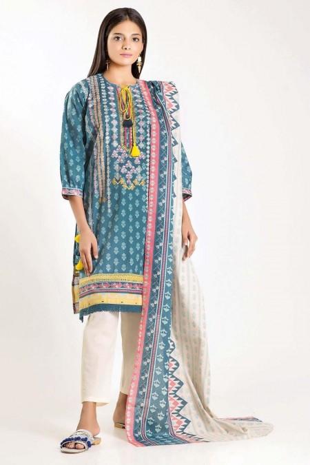 Khaadi Shirt Dupatta M19418-Blue-2Pc