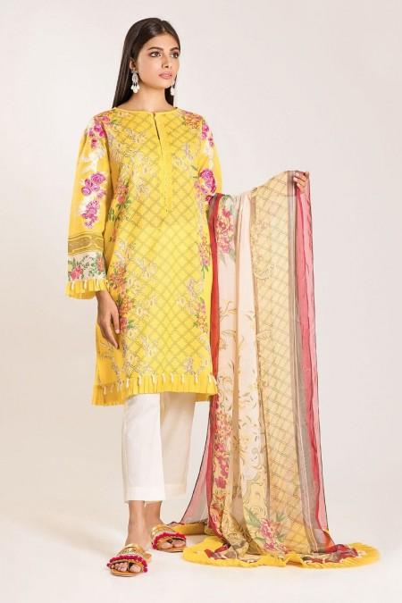 Khaadi Shirt Dupatta Y19402-Yellow-2Pc