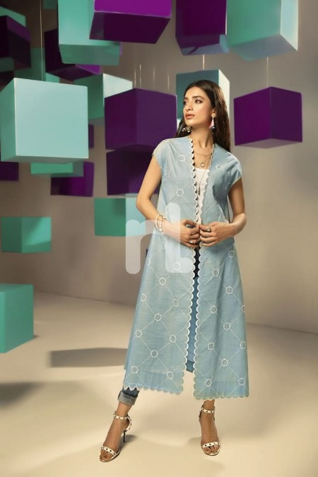Nishat Linen FS19-27 Blue Dyed Embroidered Stitched Slub Lawn Fusion Jacket - 1PC