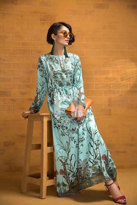 Nishat Linen FS19-72 Blue Printed Stitched Micro Modal Long Fusion Dress - 1PC