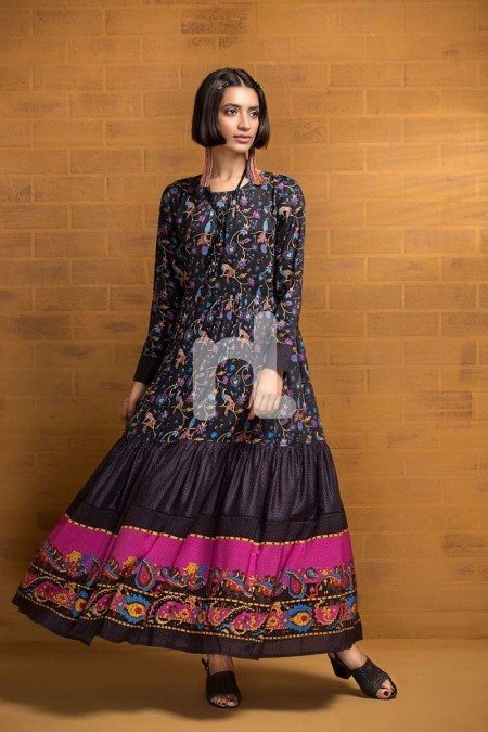Nishat Linen FS19-73 Black Printed Stitched Micro Modal Long Fusion Dress - 1PC