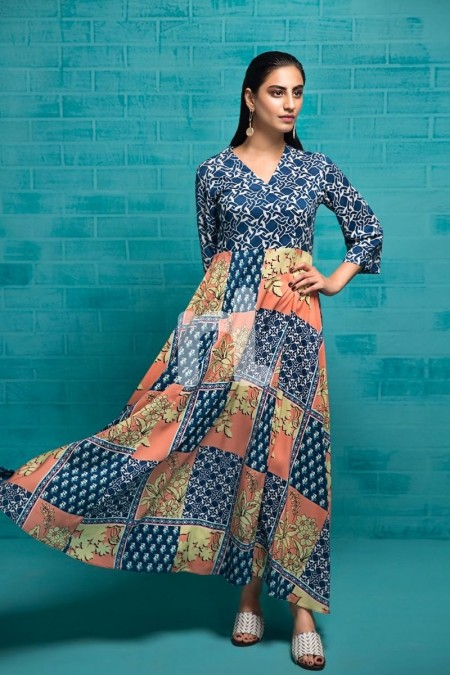 Nishat Linen FS19-79 Blue Printed Stitched Micro Modal Long Fusion Dress - 1PC