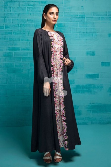 Nishat Linen FS19-83 Black Printed Stitched Micro Modal Long Fusion Dress - 1PC