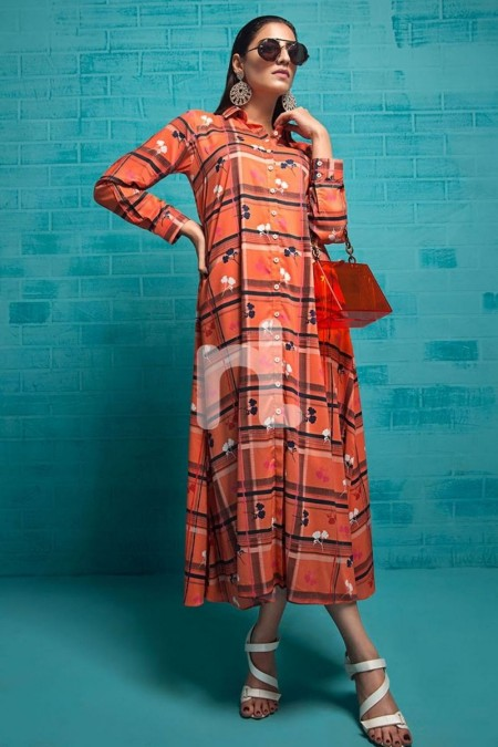 Nishat Linen FS19-86 Orange Printed Stitched Micro Modal Long Fusion Dress - 1PC
