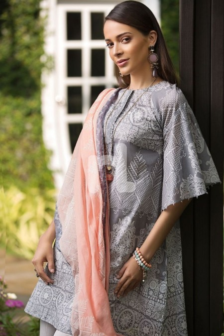 Nishat Linen Prints Charming 41907229-Voil & Slub Lawn Grey Digital Printed 2PC