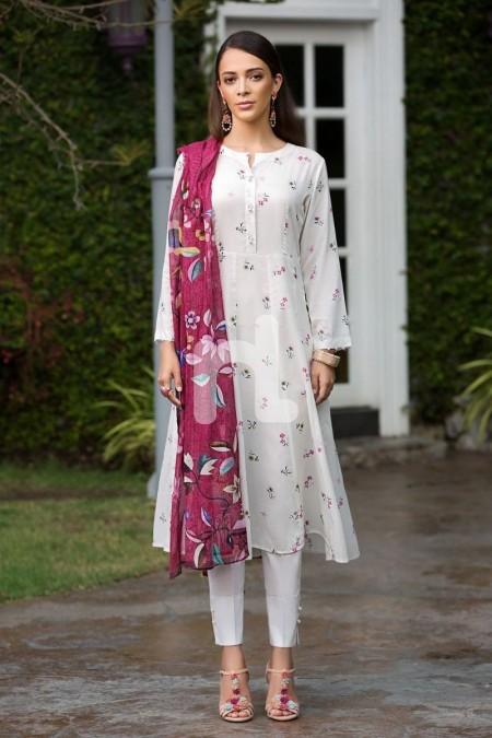 Nishat Linen Prints Charming 41907245-Cotton Net & Modal Dobby White Digital Printed 2PC