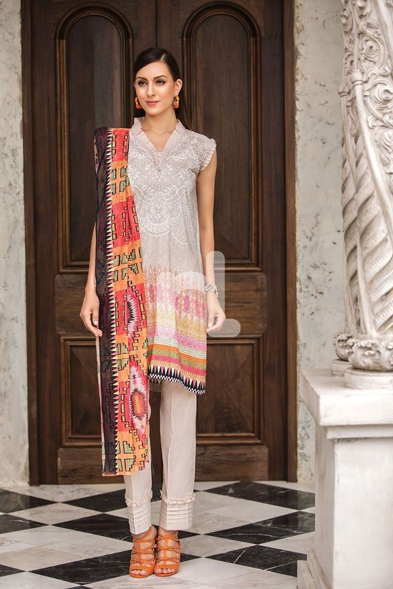 Nishat Linen Prints Charming 41907249-Cotton Net & Modal Dobby Beige Digital Printed 2PC