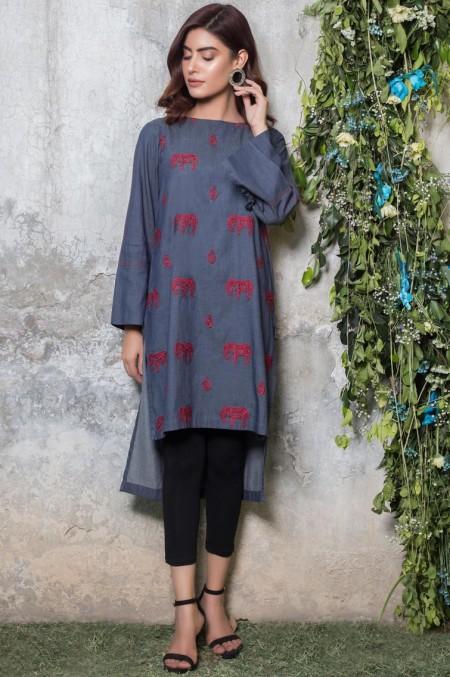 Zeen Woman 1 PC Stitched Shirt - Denim