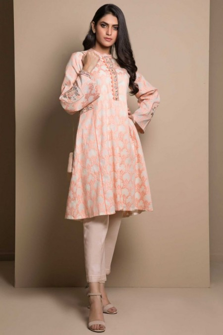 Zeen Woman 1 Piece Embroidered Stitched Suit-Fabric: Cotton Jacquard