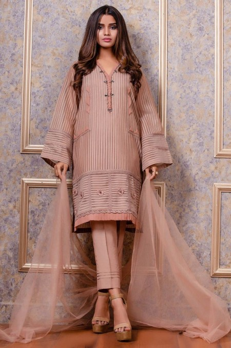 Zeen Woman 2 PC Stitched Suit - Striped Organza