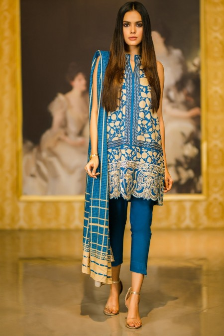 Alkaram Studio 2 Piece Embroidered Plain Viscose Suit with Plain Viscose Dupatta FW-38.1-19-Blue