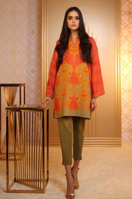 Alkaram Studio 2 Piece Printed Khaddar Suit with Khaddar Trouser FW-35-19-Rust