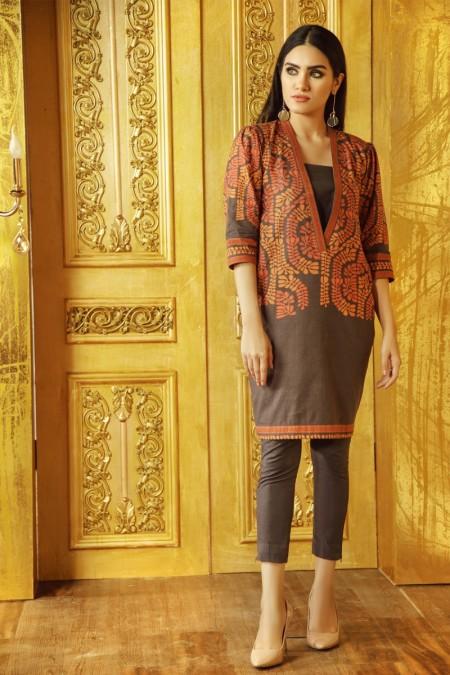 Alkaram Studio 2 Piece Printed Khaddar Suit with Khaddar Trouser FW-41.1-19-Brown