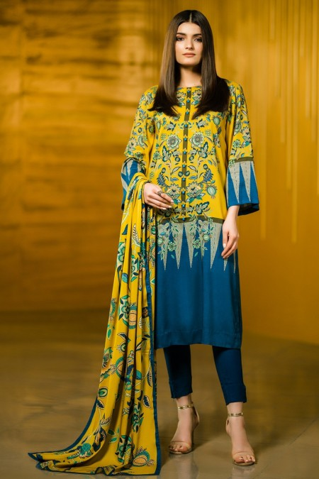 Alkaram Studio 2 Piece Printed Plain Viscose Suit with Plain Viscose Dupatta FW-42-19-Yellow