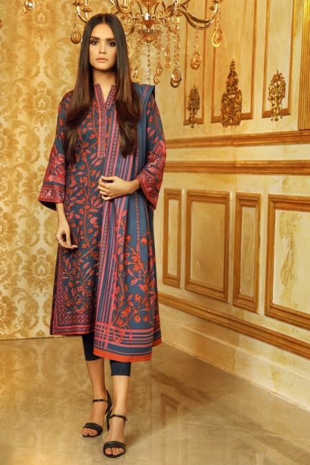 Alkaram Studio 3 Piece Embroidered Plain Viscose Suit with Plain Viscose Dupatta FW-9.1-19-Blue