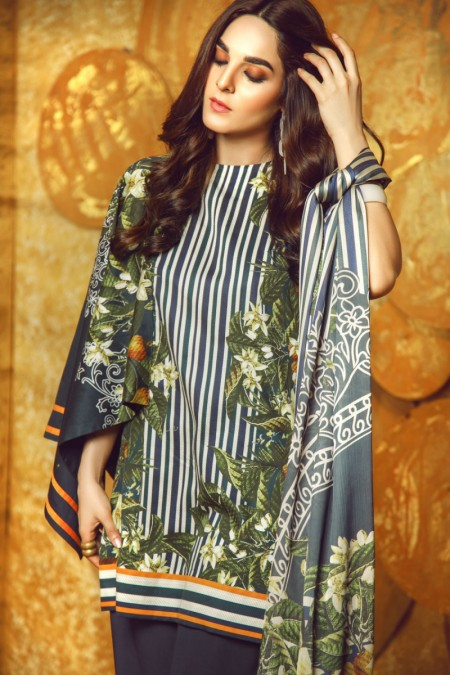 Alkaram Studio 3 Piece Printed Cotton Satin Suit with Fancy Dupatta FW-27-19-Blue