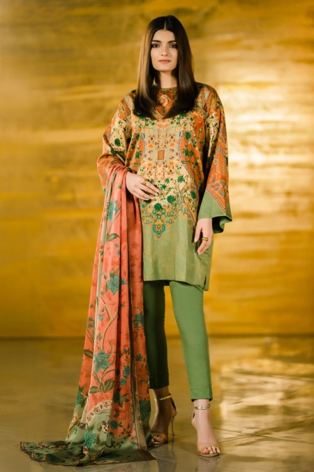 Alkaram Studio 3 Piece Printed Cotton Satin Suit with Fancy Dupatta FW-31.1-19-Green
