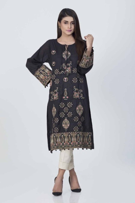 Bonanza Satrangi Black-Cotton Satin-kurti-EMSK91P019-BLACK